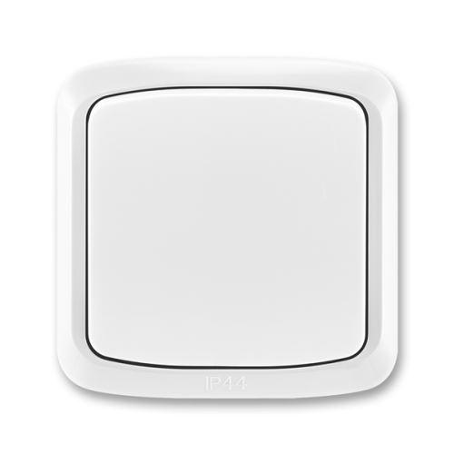Přepínač střídavý s krytem a rámečkem, řaz. 6, IP44, bílá, ABB Tango 3558A-06940 B