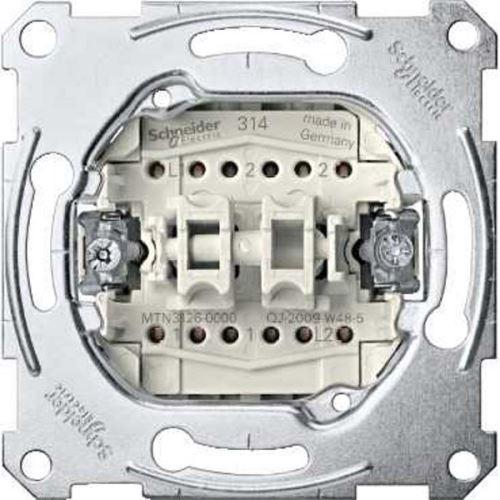Mechanismus přepínače dvojitého střídavého ř. 5b (6+6), 10A Schneider, Merten System M