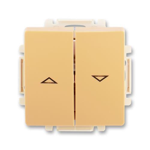 Ovládač žaluziový jednopólový s krytem (1/0+1/0 s blokováním), béžová, ABB Swing / Swing L