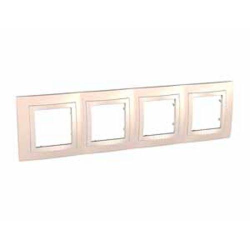 Krycí rámeček čtyřnásobný kompletní, Cream/Marfil Schneider