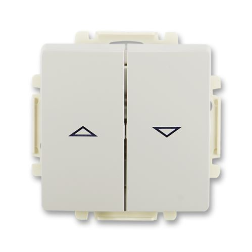 Ovládač žaluziový jednopólový s krytem (1/0+1/0 s blokováním), světle šedá, ABB Swing / Swing L