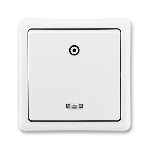 Tlačítkový ovládač zapínací s orient. dout., řazení 1/0So, jasně bílá, ABB Classic