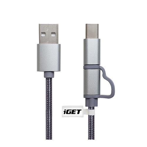 Kabel IGET G2V1 USB/Micro USB/USB-C TYPE 1m stříbrný