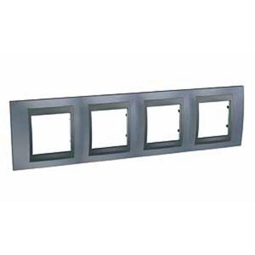 Krycí rámeček Top čtyřnásobný, Metal grey/Grafit Schneider