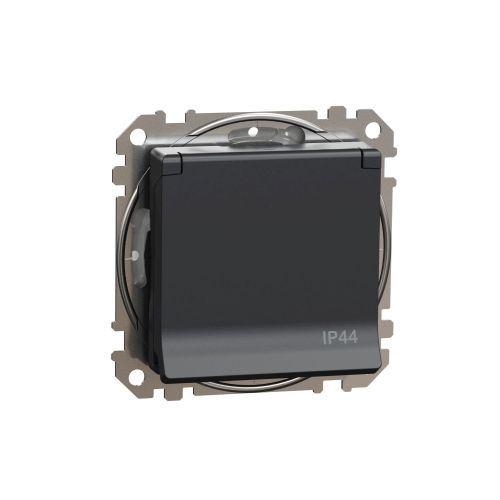 Sedna Design zásuvka 1-násobná s clonkami víčko IP44 antracit