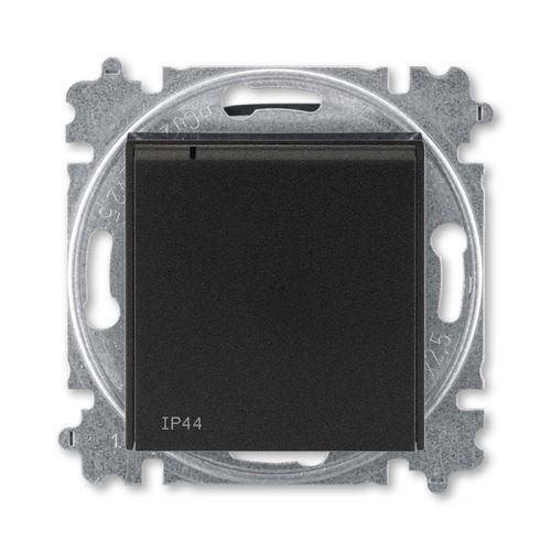 Levit zásuvka 1-násobná s clonkami IP44 onyx/kouřová černá