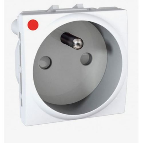Zásuvka s dětskými clonkami a ochranou před přepětím 230V/16A, 2P+PE, Polar Schneider