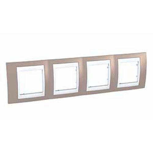 Krycí rámeček Plus čtyřnásobný, Mink/Polar Schneider