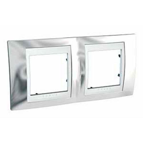 Krycí rámeček Plus dvojnásobný, Cromo/Polar Schneider