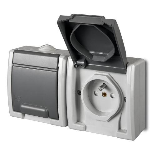 ATLAS IP55 Zásuvka 2x 2P+PE, 2-násobná vodorovná s ochr. kolíkem, šedá