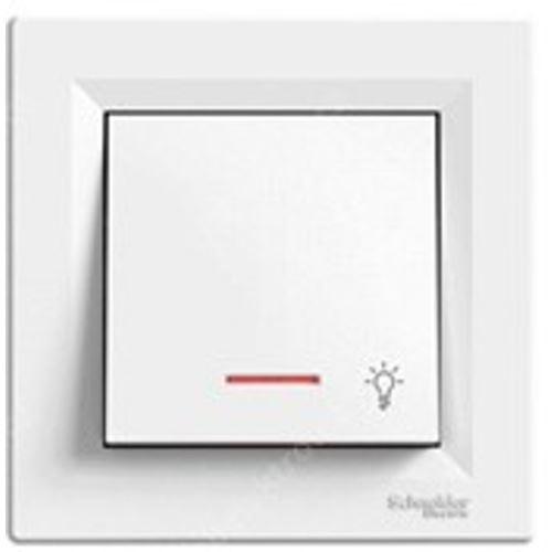 """Tlačítko """"světlo"""" orientační kontrolka, bílá, bezšroubový Schneider Asfora"""