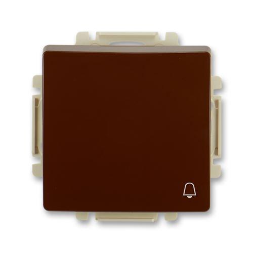 Ovládač zapínací s krytem, se symbolem zvonku, řazení 1/0, hnědá, ABB Swing / Swing L