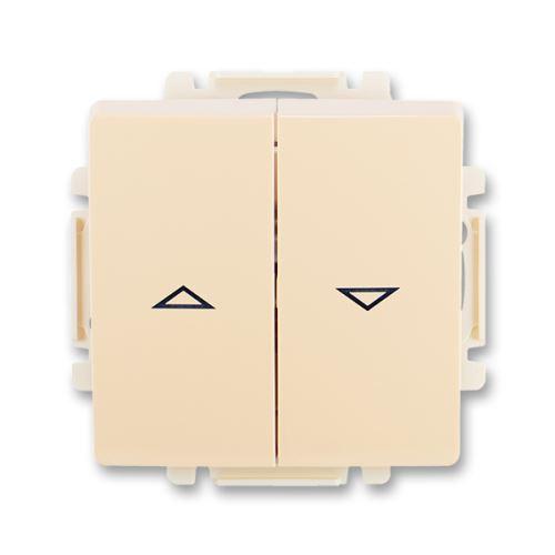 Ovládač žaluziový jednopólový s krytem (1/0+1/0 s blokováním), krémová, ABB Swing / Swing L