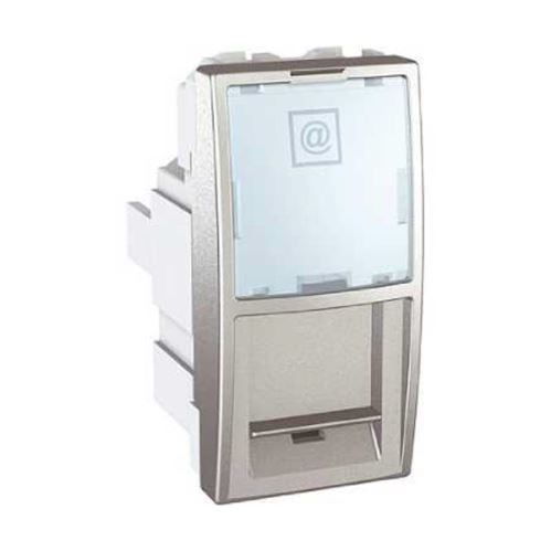 Zásuvka datová 1xRJ45 S-One, kat.6 UTP, 1m, alu Schneider