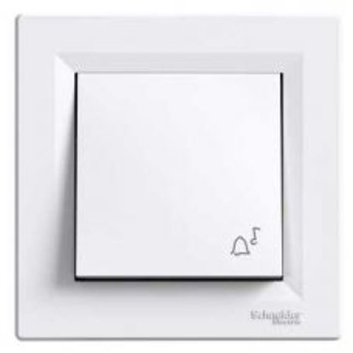 Ovladač tlačítkový zvonek, ř.1/0, bílá, bezšroubový Schneider Asfora