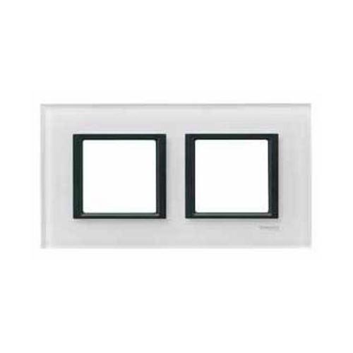 Krycí rámeček Class dvojnásobný, White glass Schneider