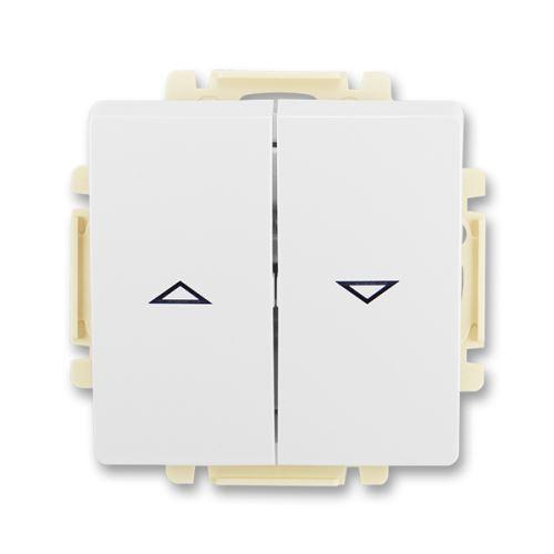 Spínač žaluziový jednopólový s krytem (1+1 s blokováním), jasně bílá, ABB Swing / Swing L