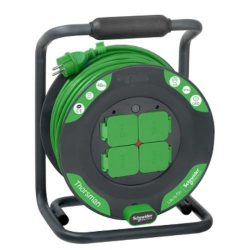 Schneider Prodlužovací buben 4 zásuvky 40m PVC 3G1,5 zelený kabel IP44 Advanced