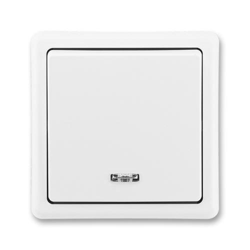 Spínač jednopólový se signal. doutnavkou, řazení 1S, jasně bílá, ABB Classic