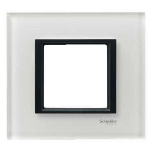 Krycí rámeček Class jednonásobný, White glass Schneider