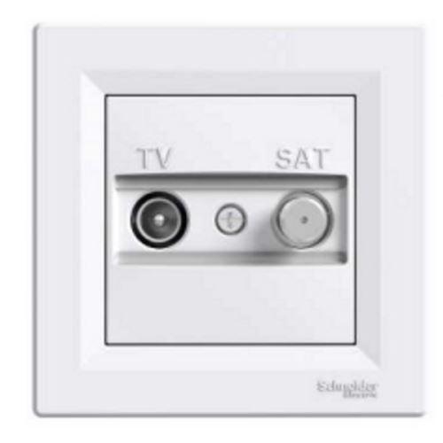 Zásuvka TV-SAT, koncová, bílá Schneider Asfora