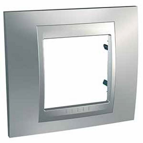 Krycí rámeček Top jednonásobný, Chrome mat./Aluminium Schneider