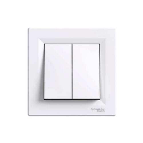 Tlačítko ovládač dvojnásobný, bílá Schneider Asfora