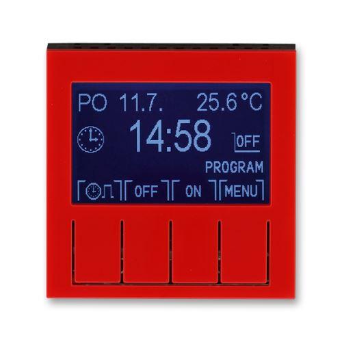 Hodiny spínací programovatelné (ovládací jednotka), červená/kouřová černá, ABB Levit