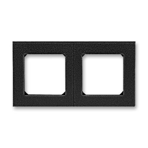 Rámeček dvojnásobný, pro vodorovnou i svislou montáž, onyx/kouřová černá, ABB Levit 3901H-A05020 63