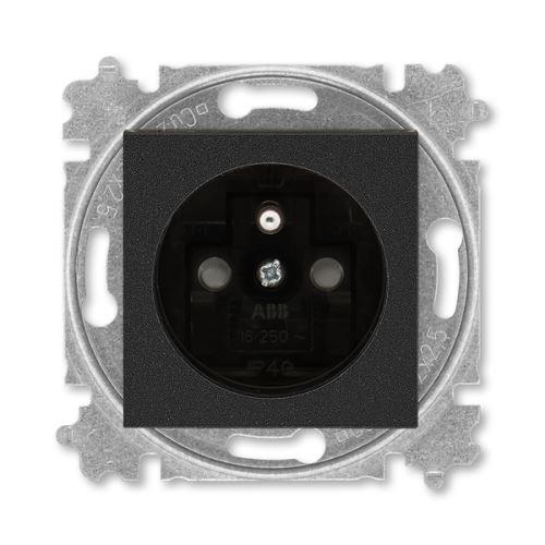 Zásuvka jednonásobná, s clonkami, onyx/kouřová černá, ABB Levit 5519H-A02357 63