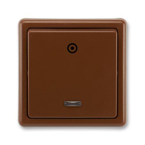Tlačítkový ovládač zapínací s orient. dout., řazení 1/0So, hnědá, ABB Classic