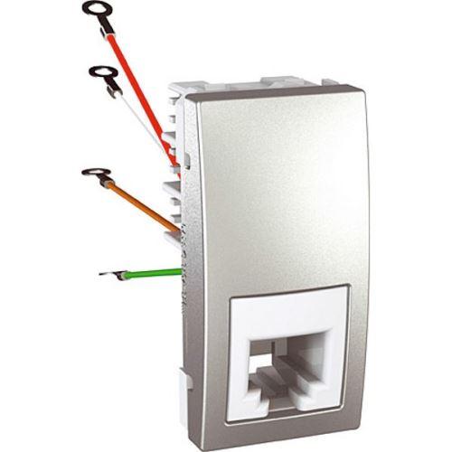 Zásuvka telefonní RJ11, 4 kontakty, 1 modul, Alu Schneider