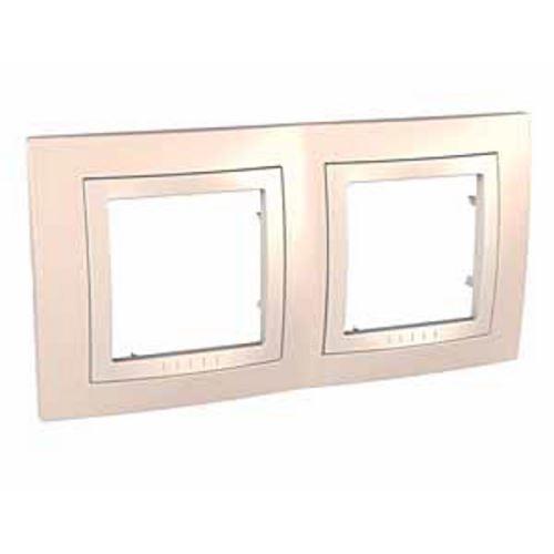 Krycí rámeček dvojnásobný kompletní, Cream/Marfil Schneider