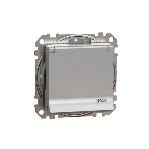 Sedna Design zásuvka 1-násobná s clonkami víčko SCHUKO IP44 aluminium