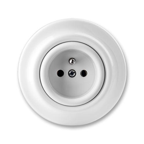 ABB Decento 5519K-C02347 zásuvka jednonásobná s ochranným kolíkem, bílá porcelánová