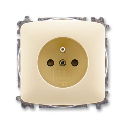 Zásuvka jednonásobná s clonkami, slonová kost, ABB Tango 5519A-A02357 C