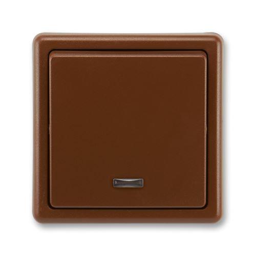 Přepínač střídavý, s orient. doutnavkou, řazení 6So, hnědá, ABB Classic