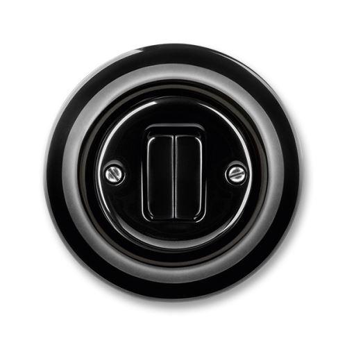 Přepínač střídavý dvojitý, černá, porcelán, ABB Decento