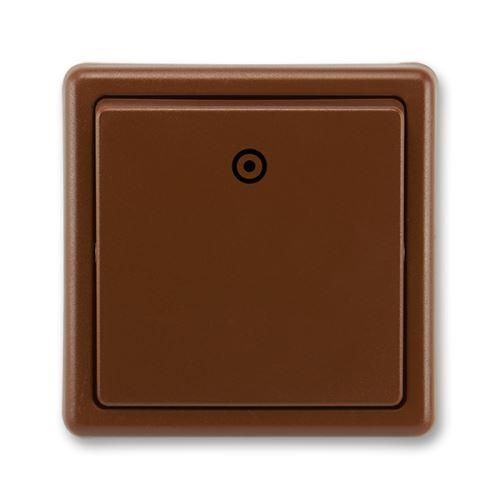 Tlačítkový ovládač zapínací, řazení 1/0, hnědá, ABB Classic
