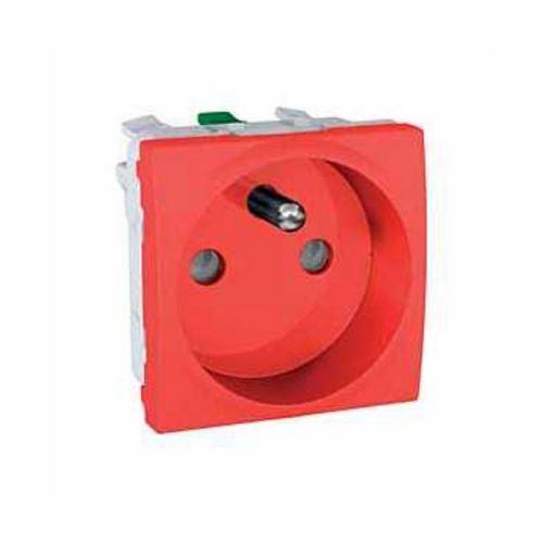 Zásuvka 230V/16A, 2P+PE, bezšroubové svorky, Červená Schneider