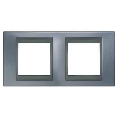 Krycí rámeček Top dvojnásobný, Metal grey/Grafit Schneider