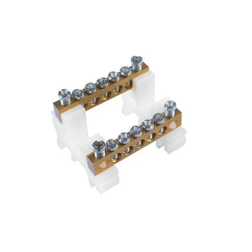 Svorkovnice N/PE mosazná RK 2/63 (6,5x9mm), IP00, 2x5 přip. míst, 16mm2, 63A, na DIN lištu