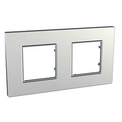 Krycí rámeček Quadro dvojnásobný, Silver Schneider