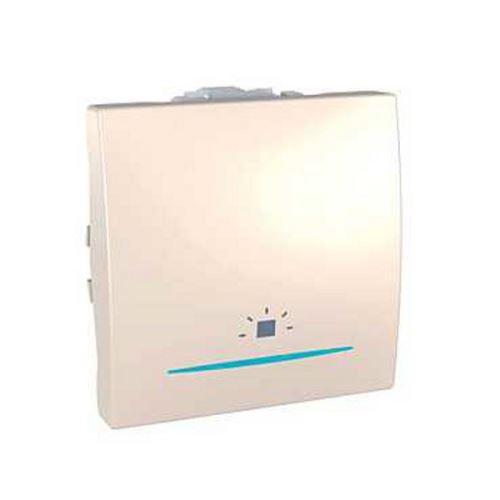 Ovládač tlačítkový se symbolem světlo a kontrolkou, řazení 1/0, slonová kost Schneider