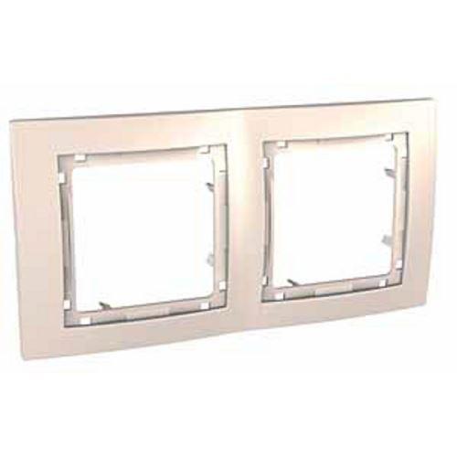 Krycí rámeček bez dekorativního rámečku dvojnásobný, Marfil Schneider