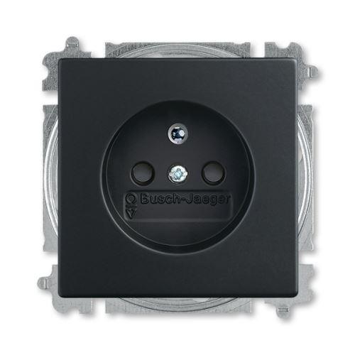 Zásuvka jednonásobná s clonkami, bezšroubové svorky, mechová černá, ABB Future linear 5519B-A02357885