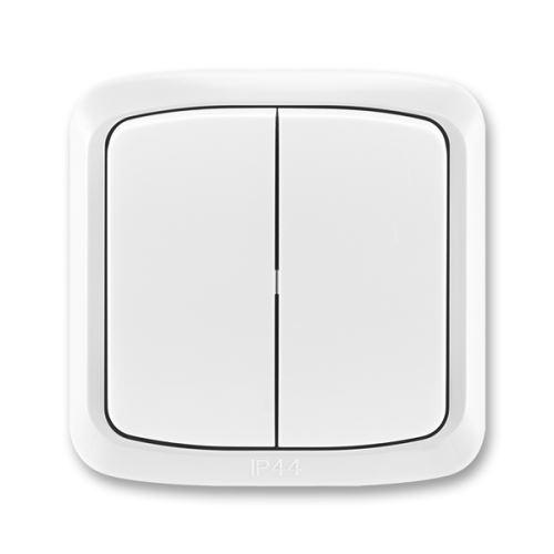 Přepínač sériový s krytem a rámečkem, řaz. 5, IP44, bílá, ABB Tango